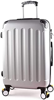 IhDFR Luggage Ultra Lightweight ABS Hard Shell Travel 4 Rotating Wheel Luggage Cabin Portable Luggage Suitcase (20/22/24/26) (Color : Silver, Size : 20 inches)