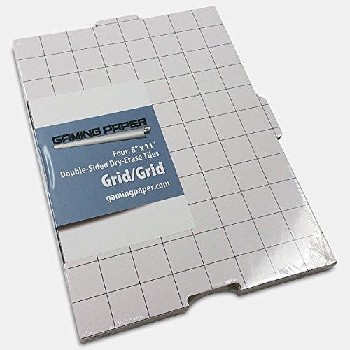 4 Pack Gaming Paper Wet/Dry Erase Tiles 1' Grid