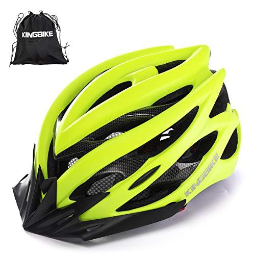 KING BIKE Fahrradhelm Helm Bike Fahrrad Radhelm mit LED Licht FüR Herren Damen Helmet Auf Die Helme Sportartikel Fahrradhelme GmbH RennräDer Mountain Schale Mountainbike MTB(Grün, M/L(54-59CM))