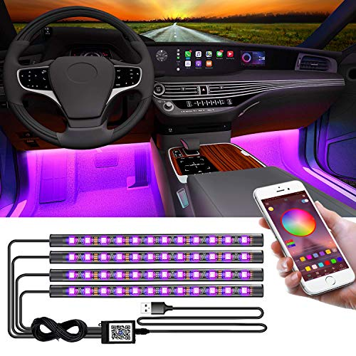 LED Interior Car Lights,App Controlled Car Interior Lights with USB Port, Multicolor Car LED Lights Interior as Ambient Lights, Music...