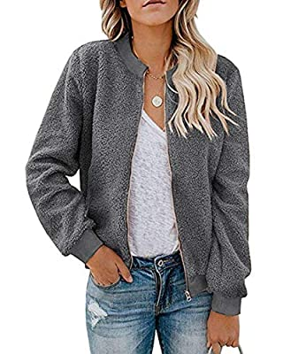 MIROL Women's Sherpa Fleece Jacket Faux Fuzzy Long Sleeve Casual Zip Up Bomber Coat with Pockets (Medium, A-Grey)