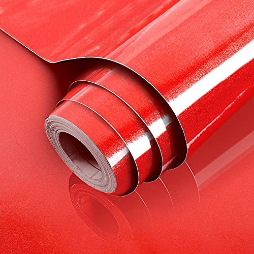 """Shiny Red Wallpaper 15.7""""x78.7""""Peel and Stick Wallpaper Self-Adhesive Removable Contact Paper for Kitchen Shelves Cabinets Countertop Decorative Red Smooth Surface Waterproof Wallpaper Vinyl Film"""