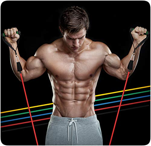 PRECORN Trainingsband Set Resistance Band Muskelaufbau Latex Gymnastikband Theraband Fitnessbänder Fitness Krafttraining Widerstandsband Fitnessband