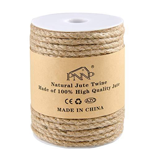 PNNP Cuerda de Yute, Natural Cuerda Yute 6mm x 30m, Cuerda de Yute para Etiquetas Boda, Decoración de Jardín, Colgar Fotos, Rascador para Gatos, Marrón