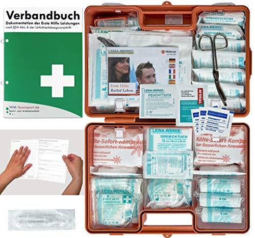 Verbandskoffer/Verbandskasten (G) - Erste Hilfe nach DIN 13169 für Betriebe -DSGVO- INKL. PERFORIERTEM VERBANDBUCH