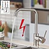 Onyzpily Gebürstetes Nickel Niederdruck Küchenarmatur Wasserhahn Küche Spültischarmatur Armatur Kueche mit Brause Ausziehbar