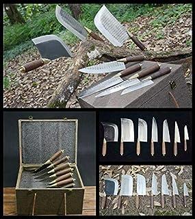 dangfeipeng Boutique Lot de 7 couteaux de cuisine forgés à la main Longquan
