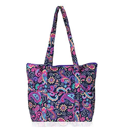 EGFAS Quilted Cotton Shoulder Tote Bag Handbag (Floral Paisley Multicolor)