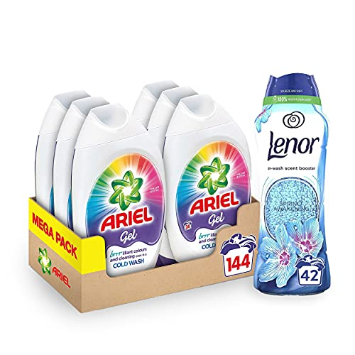 Ariel Colour Gel + Lenor Scent Booster Bundle: Washing Liquid Laundry Detergent Gel, 144 Washes (6 x 888 ml) + In-Wash Laundry Scent Booster Beads, Spring Awakening, 42 Washes (570 g)
