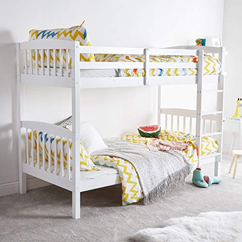 KOSY KOALA HEAVY DUTY STURDY WHITE WOOD BUNK BED COMES WITH 2 MATTRESSES 3FT SINGLE BUNKBED SPLIT INTO 2 SINGLE BEDS FOR KIDS CHILDREN ADULTS (BUNK BED & 2 MATTRESSES)