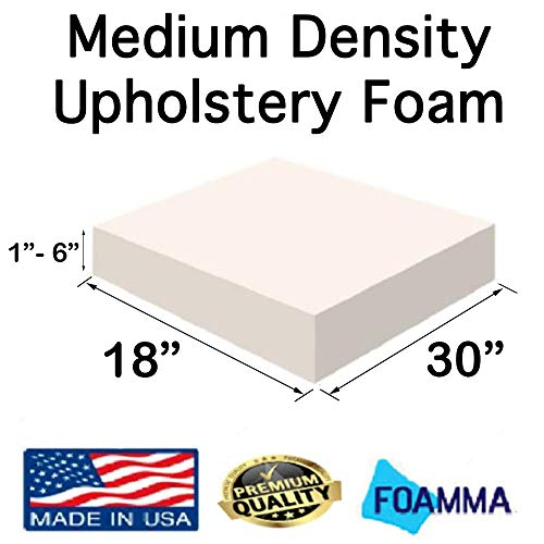 For Sale! FOAMMA  4″ x 18″ x 30″ Medium Density Upholstery Foam (Chair Cushion Square Foam for Dinning Chairs, Wheelchair Seat Cushion Replacement)