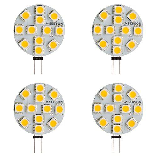 SEBSON LED Lampe G4 warmweiß 3W (2.5W), ersetzt 20W Glühlampe, 200lm, GU4 Stiftsockel 12V DC, Leuchtmittel 110°, 4er Pack
