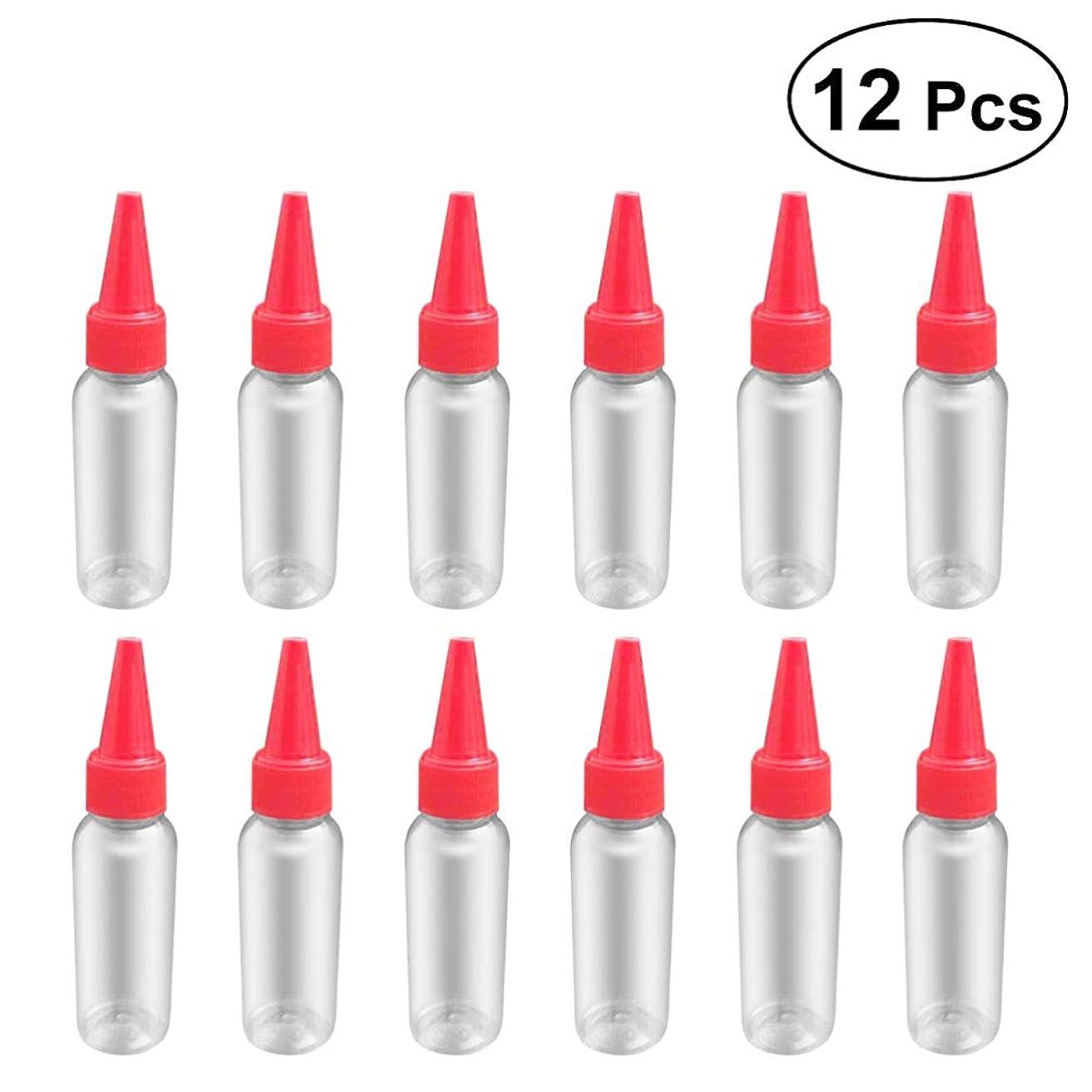 満たす読書ケーキSUPVOX 12ピース プラスチック アプリケーターボトル スクイズフロー デザイン チップキャップ 空ボトル 用液体 オイルグルー ディスペンサー ヘアカラー 40ml(赤)
