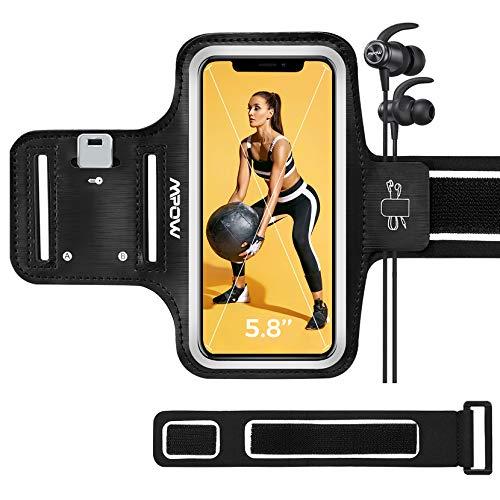 Mpow Sportarmband Handy für iPhone 12 Mini / 8 Bis Zu 5,8 Zoll, schweißfest Handy Armband Lauf Armband mit Verlängerungsband, Sportarmband für Joggen, Laufen, Spazieren, Radfahren, usw.