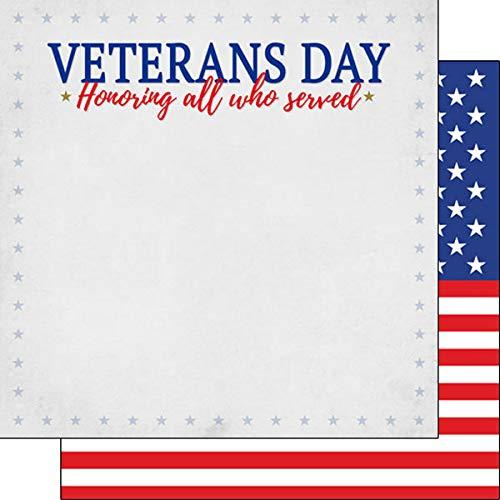 Scrapbook Customs 39420 Veterans Day Border Stripe 12 Inch x 12 Inch Double-Sided Scrapbook Paper - 1 Sheet