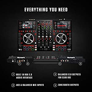 Numark NV II | Four Deck DJ Controller for Serato DJ (Included) With Dual High Resolution Displays, 16 Performance Pads and 5-Inch Metal Platters