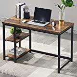 UnaFurni Office Computer Desk with Shelves, 55 Inch Study Writing Desk Wood and Metal, Rustic Industrial Home Office Workstation with Storage, Vintage Brown