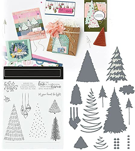 QINGPINGGUO Christmas Clear Stamps Cutting Dies, Die Cutting Dies and Stamp Sets for DIY Scrapbooking (b)