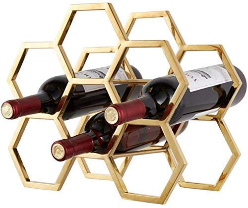 AKAMAS Estilo Retro Moderno Decoración de la Pared Aplicación de 6 Botellas Rack de Vino - Rack de Vino multifunción para estanterías de Vino de pie Baibao