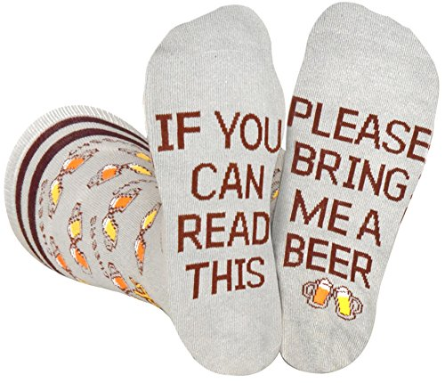 Saucey Socks Grey Bring Me Beer Socks, Luxury cotton unique CHEERS designs, Great Gift for Men and Women! (1, Medium)