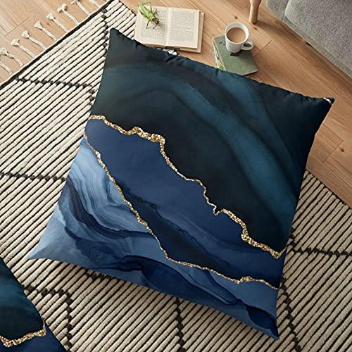 Funda de cojín para sofá cama para mamá y papá, fundas de cojín abstractas de ágata, fundas de almohada de algodón, color azul marino y dorado