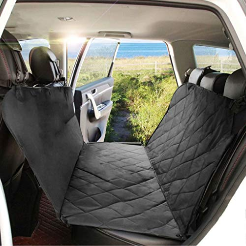 Car Seat Cover Dog, Side Flaps with Zipper, Padded 3 Layers Waterproof Heavy Duty Dog Hammock with Storage Bag, Scratch Proof Nonslip Pet Car Seat Protector Cover,Black