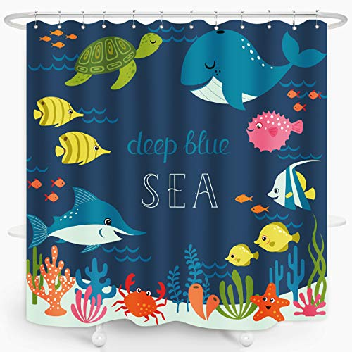 ZXMBF Cartoon Underwater Sea Animal Shower Curtain Deep Ocean Fish Sea Turtle Starfish Coral Reefs Kid Bathroom Décor Waterproof Fabric 72x72 Inch Plastic Hooks 12 PCS Blue