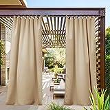 NICETOWN Thermal Insulated Patio Door Curtain, Room Darkening Tab Top Rustproof Light Block Thermal Insulated Outdoor Curtain Drape for Front Porch (Biscotti Beige, 1 Panel, W52 by L95 inches)
