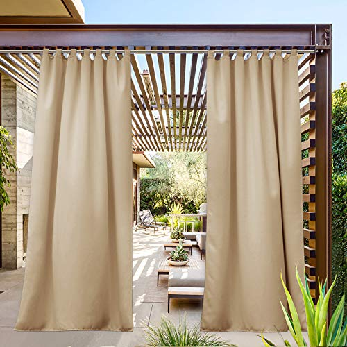 NICETOWN Tab Top Outdoor Curtain for Patio Waterproof, W52 x L108, Triple Weave Sun Block Wind Prevention, Thick Enough Protect You from Sun/Rain, Biscotti Beige, 1 Piece