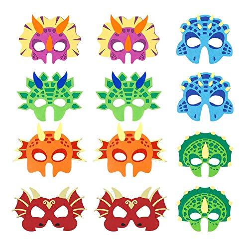 Homealexa 12 Stück Dinosaurier Masken Kinder Dino Party Masken Mit Elastischen Seil Filz Masken für Cosplay Kinder Geburtstagsparty Junge und Mädchen