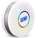 Combination Smoke Alarm& Carbon Monoxide Alarm Detector, With Digital LCD Display and Voice Warning Battery Powered Suitable for use in your Home, Garage, Office (AA Batteries NOT Included)