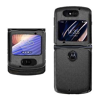 Hacker s Phone Case Compatible withMotorola Razr 5G VersionClassicCarbon Fiber Pattern PU Leather Back Cover  Black