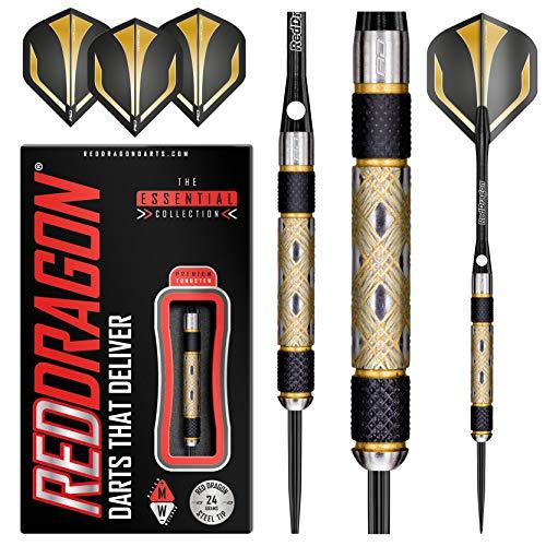 RED DRAGON Golden Eyes 1: 24g - 85% Tungsten Darts (Steel Dartpfeile) mit Flights und Schäfte