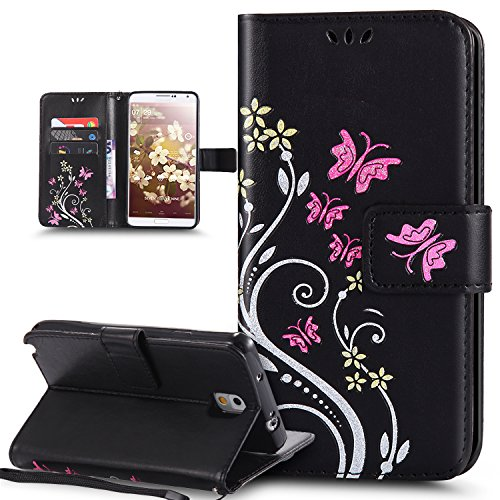 Kompatibel mit Schutzhülle Galaxy Note 3 Hülle Handyhülle,Bunte Gemalt Prägung Schmetterlings Blumen PU Lederhülle Flip Hülle Cover Ständer Wallet Tasche Case Schutzhülle,Schwarz