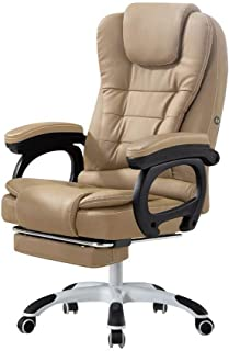 AOLI Silla para computadora, silla de oficina en casa Silla de jefe reclinable Silla de escritorio de arte de cuero Silla giratoria de elevación Silla para dormir reclinable 300Kg, Negro, 65 * 65 * 1