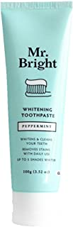Mr Bright All Natural Whitening Toothpaste - Refreshing Peppermint - Whitens & Cleans Your Teeth Up to 5 Shades Whiter (Wh...