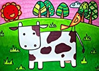 番号キットによるDIY絵画子供と大人のためのキャンバス油絵キット16x20インチの描画塗装漫画太陽の木牛40X50Cm