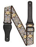 Guitar Strap,Jacquard Weave Embroidered Strap,Adjustable Woven Guitar Strap 60 s,For Kids and adults,For Bass,Electric & Acoustic Includes 2 Strap Safety Locks & 4 Picks (yellow white)