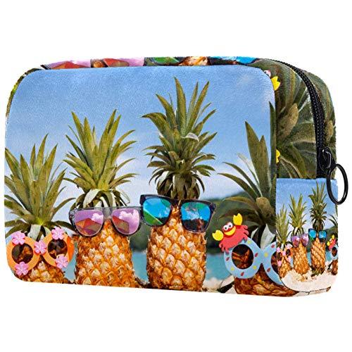 Makeup Bag Travel Cosmetic Bag Pouch Purse Handbag with Zipper - Beach Tropical Fruit