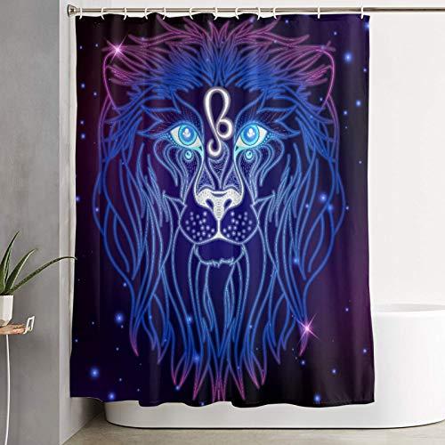 KGSPK Duschvorhang,Leo Sternzeichen Horoskop Symbol,wasserdichter Badvorhang mit 12 Haken Duschvorhangringen 180x180cm