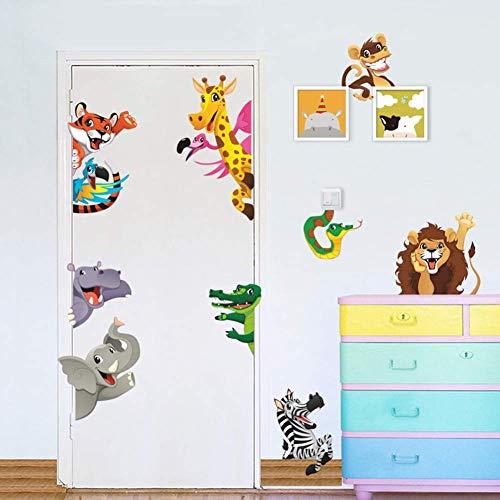 WEWINLE Animals Wall Stickers for Kids Rooms DIY Children Mural Decals for Baby Bedroom Wardrobe Door Decoration(Cartoon Animals)