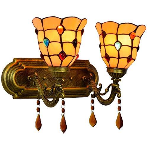 BXU-BG Sencillo Británico dormitorio de noche lámpara de pared lámpara de pared de color clásico granos amarillos de vidrio decoración del hogar Hotel Doble cabeza de cristal de la lámpara