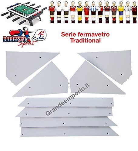 Roberto Sport Calcio Balilla ricambi angolari Ferma Vetro 8 Pezzi, 4 Angoli e 4 Liste, in plastica Bianca, Adatti a Tutti i Modelli.