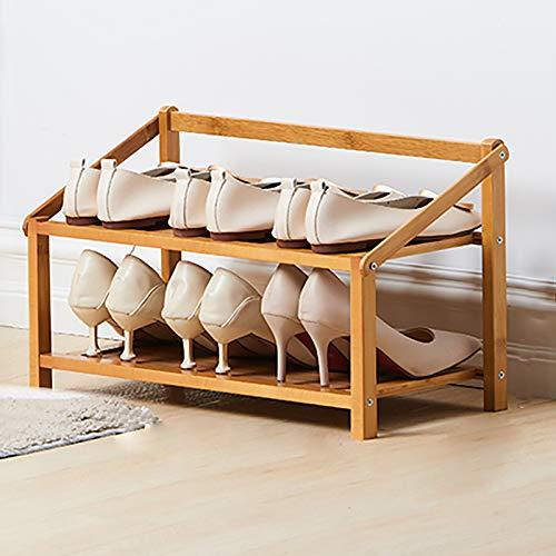 Pequeño Estante De Almacenamiento De Rack De Zapatos,2-nivel Bambú Estantes Plegables De Zapatos De Pie Libre,Instalación Gratuita Zapatero Para Los Estantes De Soporte De Plantas -Color de madera 50x