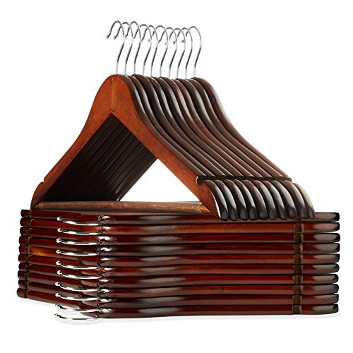 Casafield - 20 Walnut Wooden Suit Hangers - Premium Lotus Wood with Notches Chrome Swivel Hook for Dress Clothes Coats Jackets Pants Shirts Skirts
