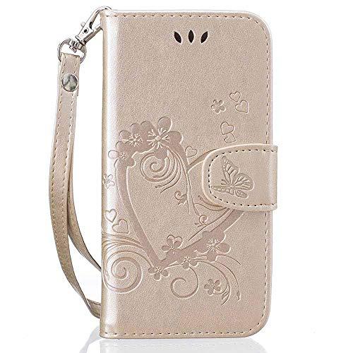 Estuche para teléfono tipo bandolera Funda de cuero de la PU del soporte de la billetera del corazón del corazón de la moda para SMG Galaxy S10 5G S10E S9 S8 PLUS S7 S6 Edge S5 Mini A10 Tapa de la cub