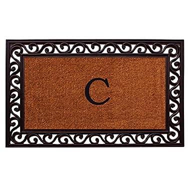 Home & More 100061830C Rembrandt Doormat, 18  x 30  x 1 , Monogrammed Letter C, Natural/Black