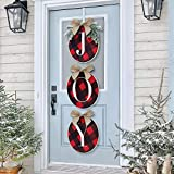 ORIENTAL CHERRY Christmas Wreath - Joy Sign - Buffalo Check Plaid Wreath for Front Door - Rustic Burlap Wooden...