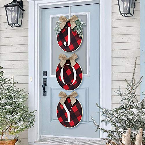 ORIENTAL CHERRY Christmas Decorations - Joy Sign - Buffalo Check Plaid Wreath for Front Door - Rustic Burlap Wooden Holiday Decor for Home Window Wall Farmhouse Indoor Outdoor