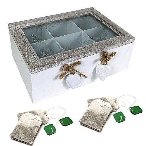 Nostalgische Teebox aus Holz als Vorrats Teedose im Shabby Chic Look mit Deckel und dekorativem Sichtfenster Teebeutel